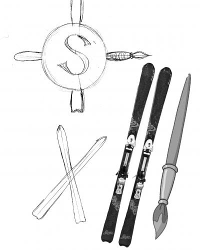ski and paintbrush